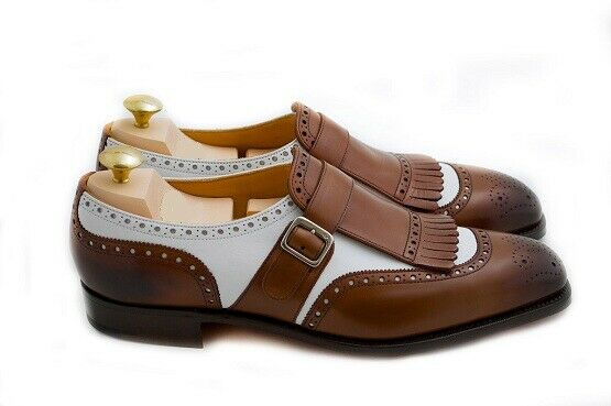 Mens Handmade shoes Two Tone Monk Brown & White Formal Dress Casual Wear Boot New