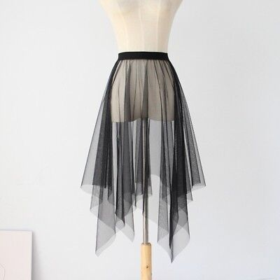 Lady Sexy Mesh Sheer Skirt See Through Tutu Tulle Elastic