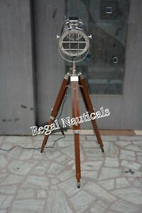 Hollywood Vintage ANTIQUE Floor Lamp Studio Spot Light E 27 Tripod Search light