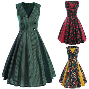 Womens-1920s-Vintage-Dress-Floral-Housewife-Pinup-Rockabilly-Swing-Evening-Party