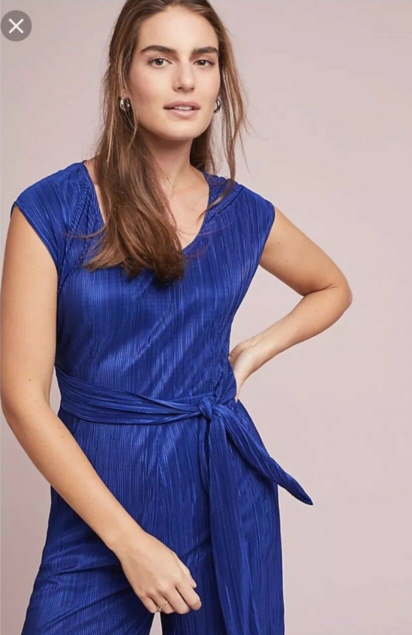 Anthropologie Maeve Royal bluee Jumpsuit Pleated Holiday Size 6