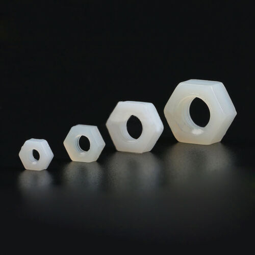 10//50//100Pcs Nylon Hex Nuts Plastic Hexagon Nut White for M3 M4 M6 M8 Screw