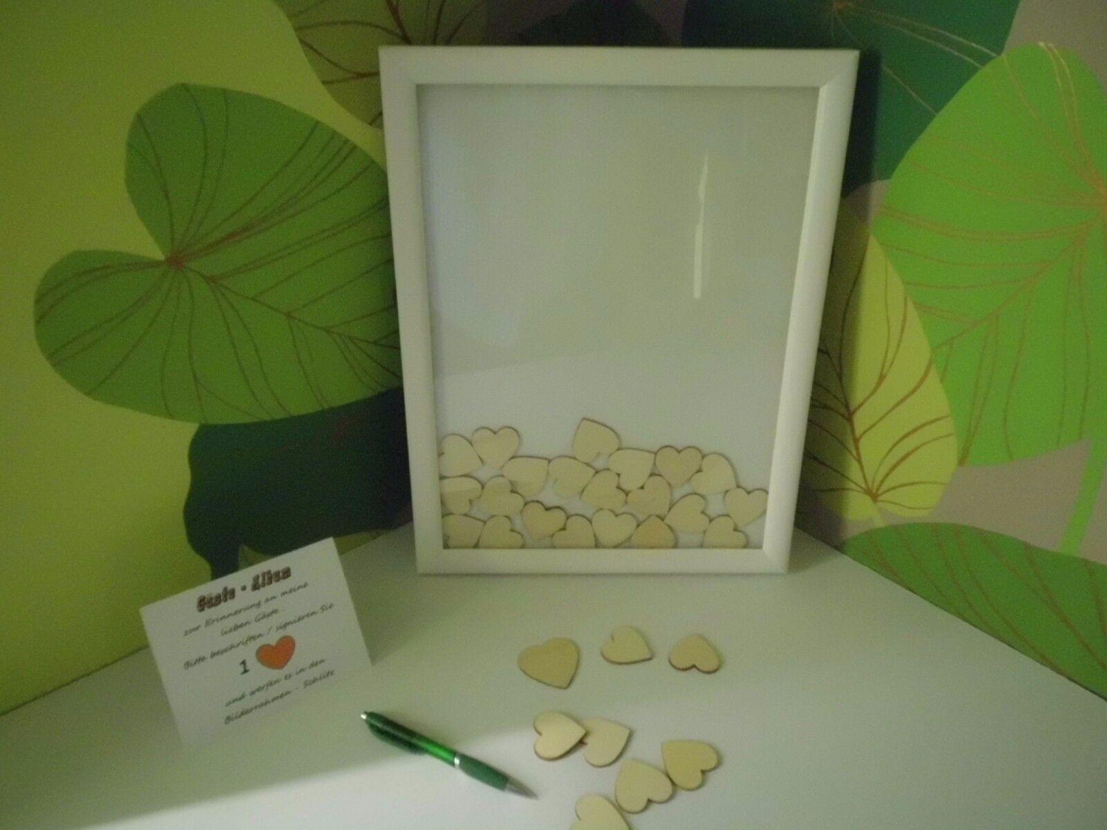 3D Herz-Box, alternativ Gästebuch bis 130 Herzen Einwurf Bilderrahmen Hochzeit