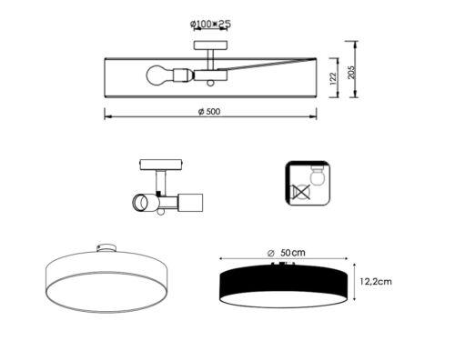 Deckenlampe Rund Ø50 cm Textil Lampenschirm weiß blendfrei durch Abdeckung E27