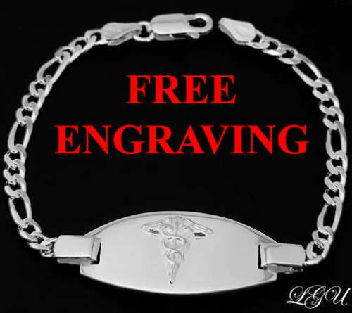 "SILVER MEDICAL ALERT ID BRACELET 9/"" FREE ENGRAVING"