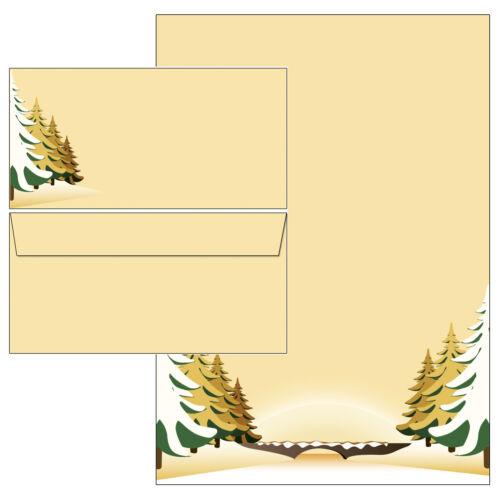 Weihnachten Winter Winterlandschaft gelb Briefpapier 20 Blatt A4 10 Kuverts