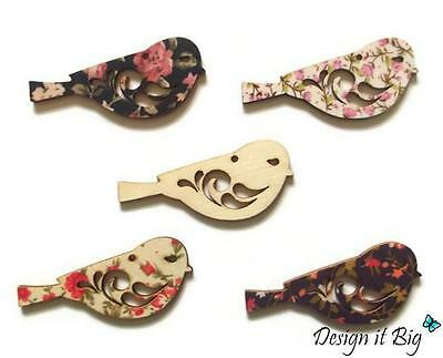 Charmer Birds Wooden Craft Emellishments Floral Tags (27mm x 67mm) With Hole