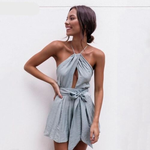 Jumpsuit With Up Summer Women Backless Overalls Playsuit Sashes Lace Short qcRv7CW