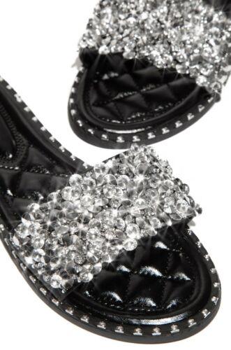 New Women Open Toe Jeweled Rhinestone Band Slide Sandal Shoes Flip Flops Slipper