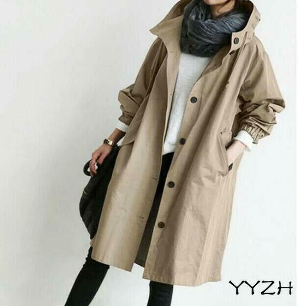 Womens Oversized Fashion Hooded Windbreaker Rain Jacket Loose Parka Trench Coats