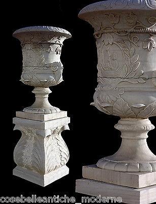 Smart Grande Vaso Marmo Bianco Arredo Esterni Giardino Old Design Marble Vase H.170cm