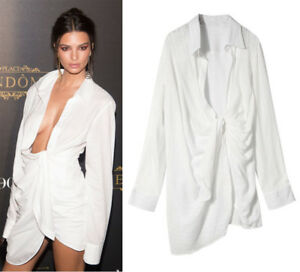 Emily-Ratajkowski-Designer-Plunge-Neck-Knot-Shirt-Dress-Drape-Sexy-Low-V-Tunic