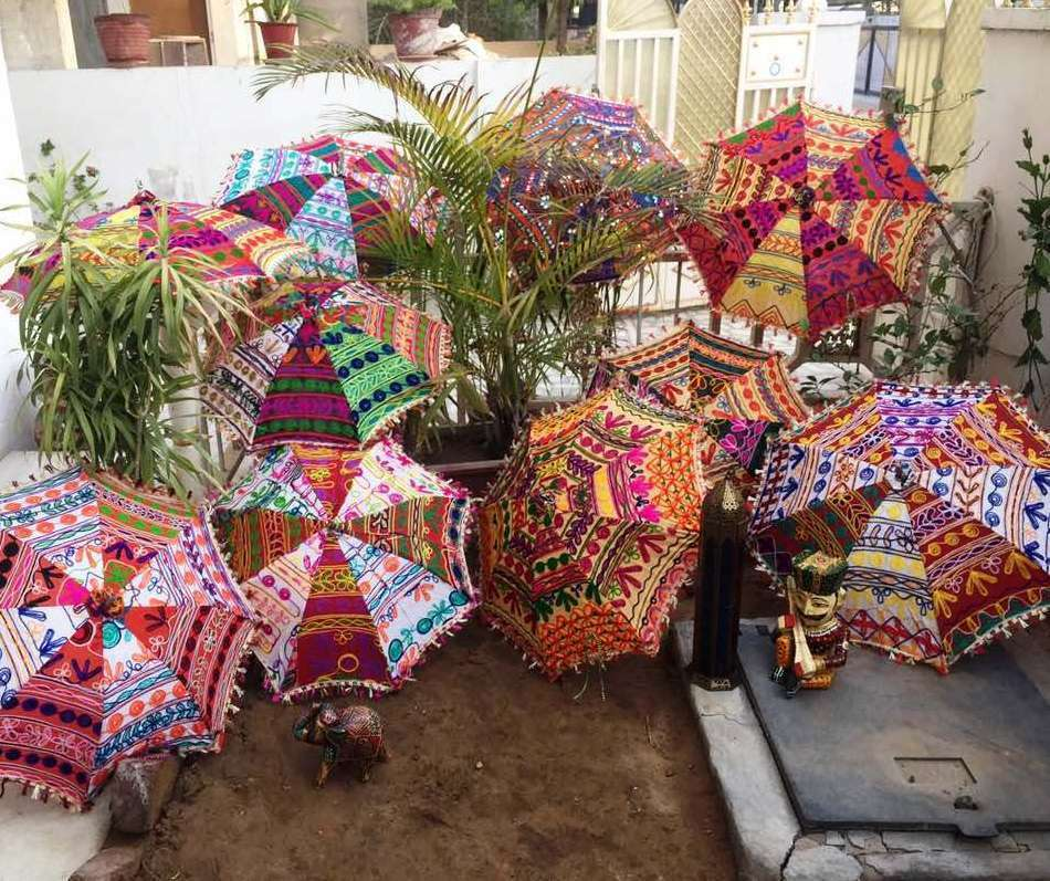 Wholesale 10-Pc Indian Handmade Umbrella-Decor Wedding-Shower Small Parasols 24