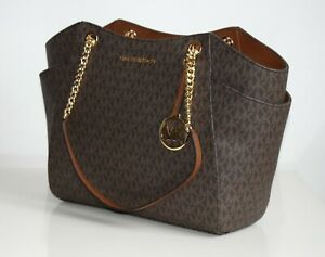Details zu MICHAEL KORS Damen Tasche JET SET TRAVEL LG CHAIN braun 35F8GTVE7B