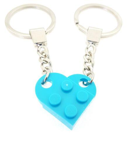 LEGO Meduim Blue Heart Keychain Birthday Valentine Gift Quality Keyring NEW