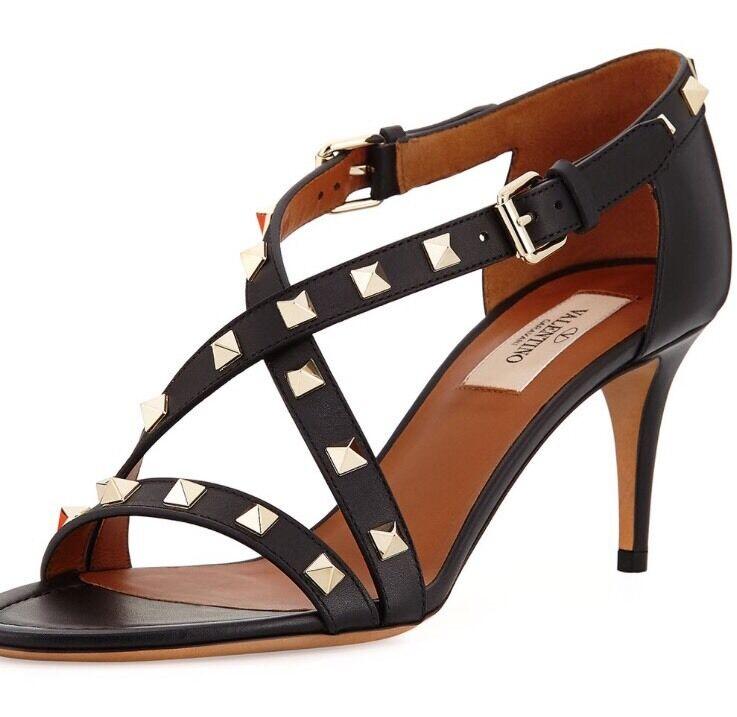 Valentino Rockstud 70mm Crisscross 70mm Rockstud Sandal 40.5 $945 59b85c