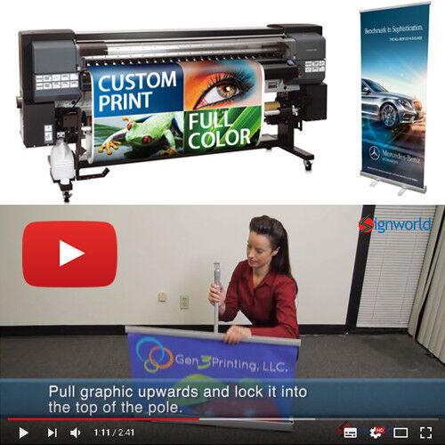 "2 pcs of 33"" Retractable Roll up banner stand + Full color custom vinyl print"