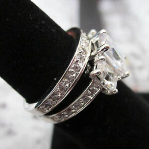 Image Is Loading Modern Princess Cut Set Silver Platinum Plated Wedding