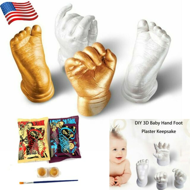 AIHOME Baby Handprint /& Footprint DIY Hand Foot Print 3D Plaster Mold DIY Casting Kit Infant Foot and Hand Molding Cast Powder Clone Powder and Brush Set for Unisex Newborn Shower Gift