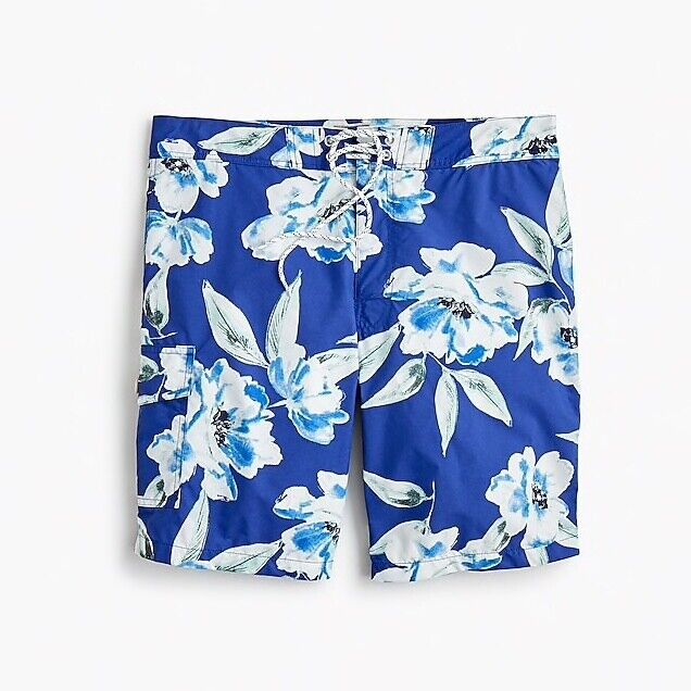 NWT J CREW MENS 9  BOARD SHORT LARGE blueE FLORAL PRINT TROPICAL COVE SIZE 32