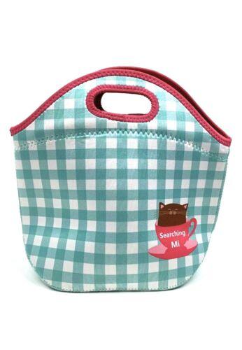 "Green /& White Checkered Neoprene Lunch Tote Bag 11.5""x10.75 Searching Mi"