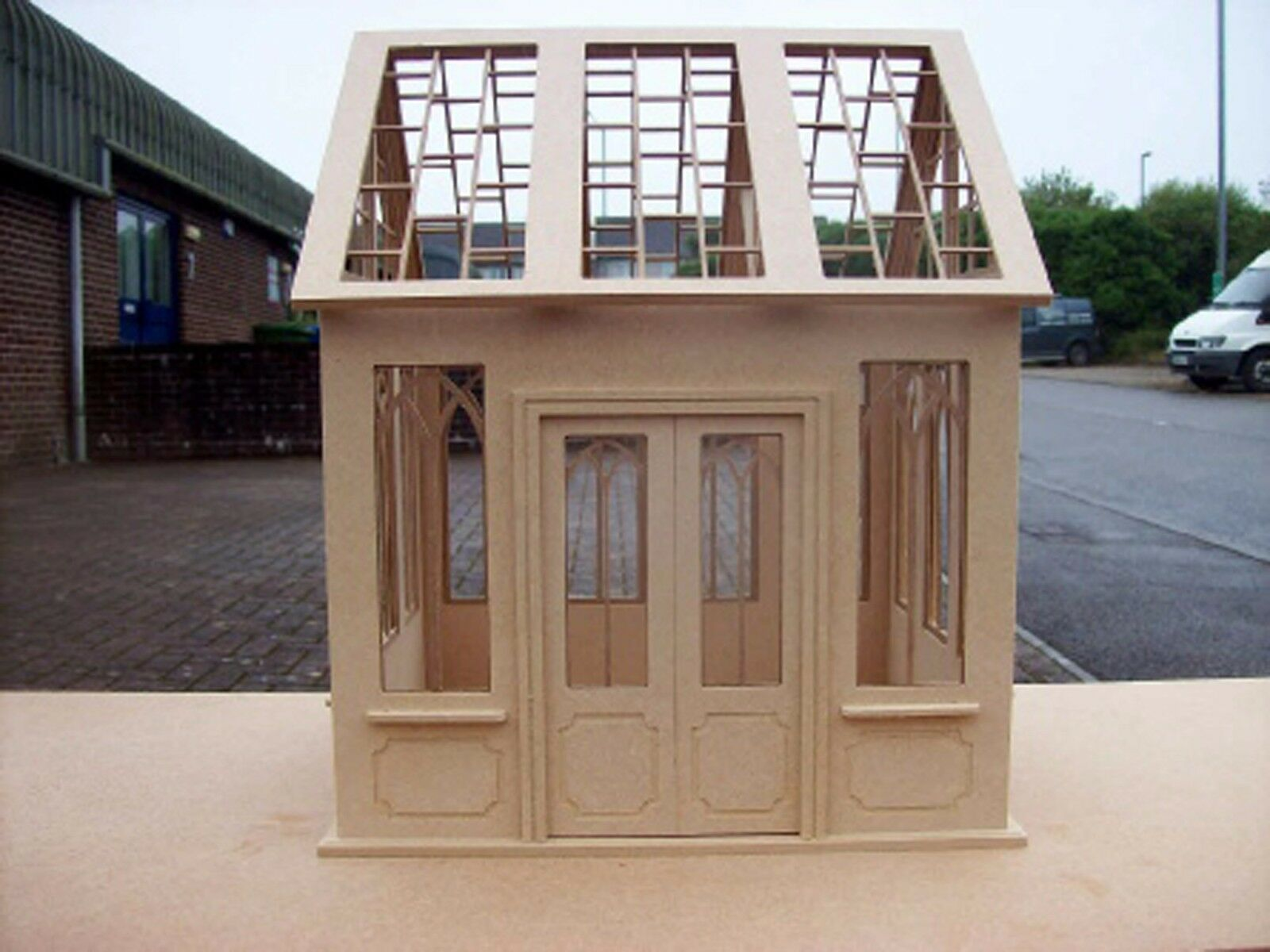 1 12th Natural Finish MDF Dolls House Miniature Flat Pack Unglazed Conservatory