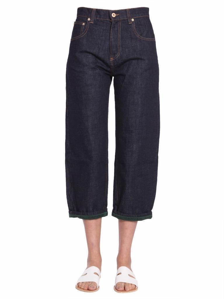 Carven Damen Dunkle Waschung Boyfriend Weites Bein Grün-Trim Jeans Hose 4-36