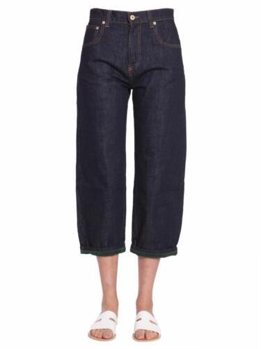 Larges 36 Neuf Femmes trim Foncé Jeans Green Carven Boyfriend 4 Pantalon Jambes wqBFIA
