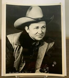 Tex Ritter 8 x 10 Glossy Official Fan Club Photo ~ Western Cowboy Actor Singer