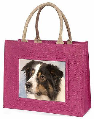 TriCol Border Collie Hund Große Rosa Einkaufstasche Weihnachtsgeschenk