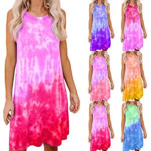 Women Midi Dress Crew Neck Sleeveless Summer Tank Loose Fitting Gradient Dresses