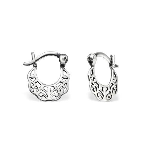 925 Sterling Silver 12mm Vintage French Lock Hoop Sleeper Earrings D3 Pair