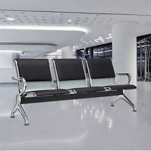 Admirable Details About Black 3 Seat Bench Airport Office Reception Waiting Chair W Pu Leather Cushion Gmtry Best Dining Table And Chair Ideas Images Gmtryco
