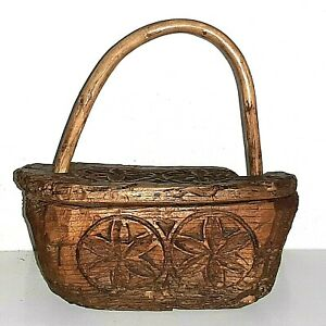 Antique-Wood-Spice-Box-Primitive-Americana-Rare-Swing-Lid-Pen-Dutch