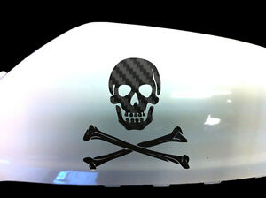 Skull-Crossbones-Car-Stickers-Wing-Mirror-Styling-Decals-Set-of-2-Black-Carbon