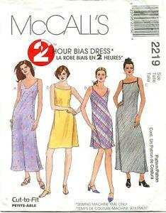 McCalls 2219 Misses 2 Hour Bias Dresses Sewing Pattern  Size 4 6 8 Uncut