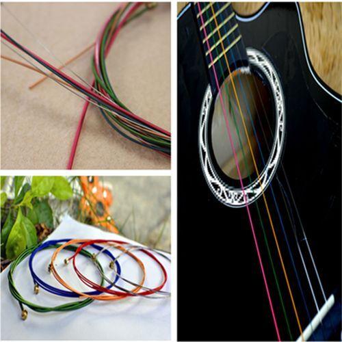 Fashion Amazing Colorful Color Guitar Strings For Acoustic Guitar 1 Set 6PCS FT8