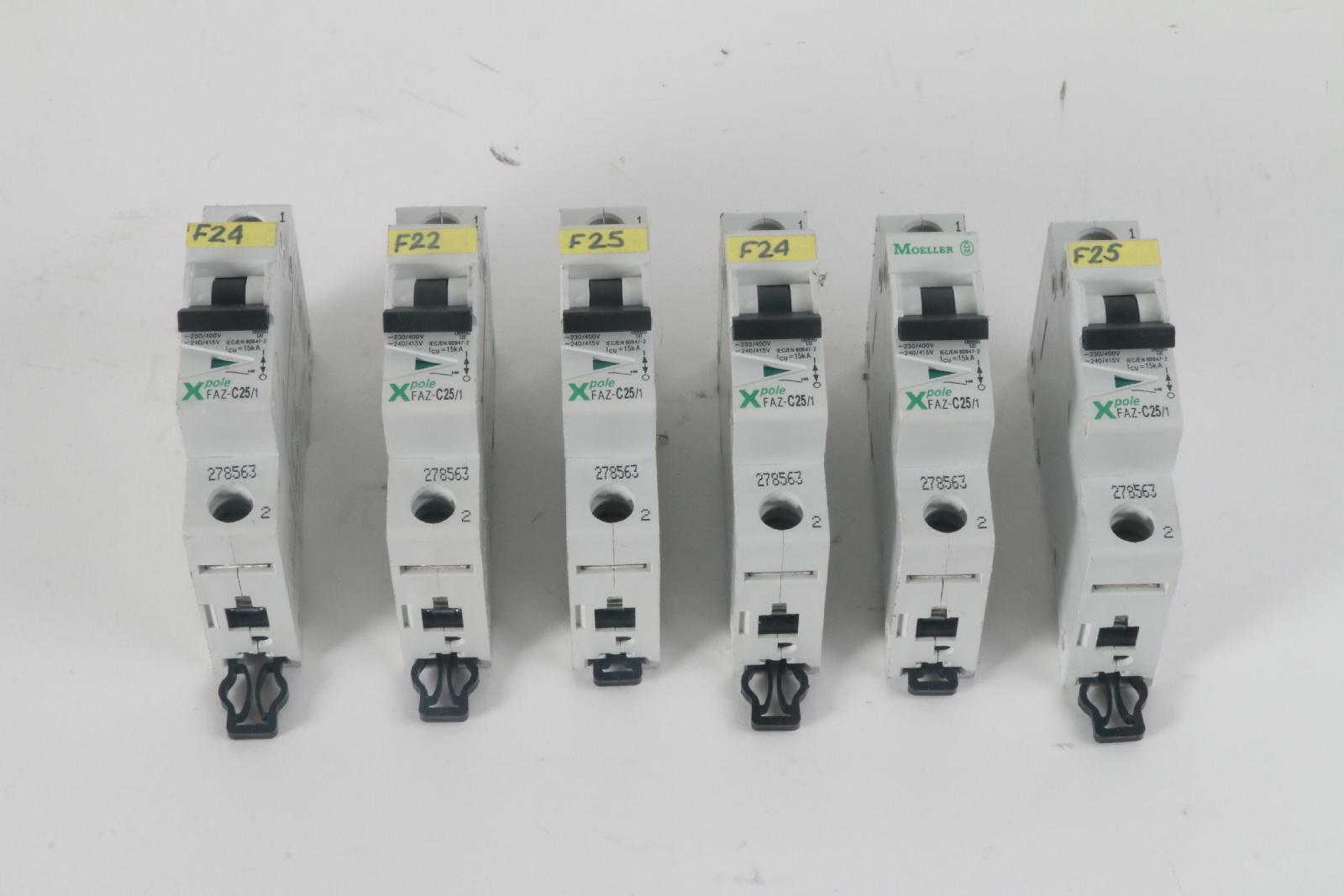 Lot of 6 Moeller FAZ-C25 1 Miniature Circuit Breaker 1-Pole 25 Amp