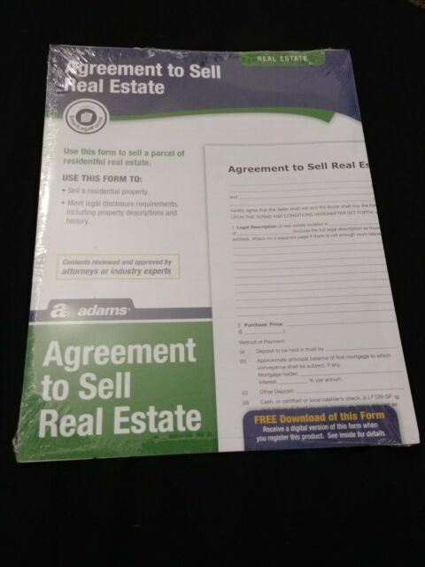 Adams Agreement To Sell Real Estate Form 8 5 X 11 Inch White Lf120