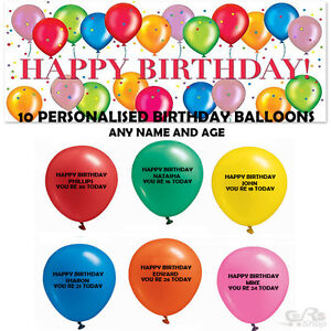Image Is Loading Birthday Balloons Helium Name Amp Age 20 X