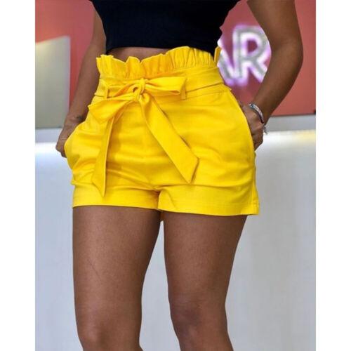 UK Womens Ladies High Waist Lace Up Shorts Summer Casual Short Length Hotpants