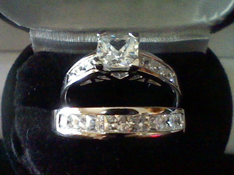 PLATINUM & SS PRINCESS LCS DIAMOND ENGAGEMENT WEDDING RING SET + GIFT SZ 4