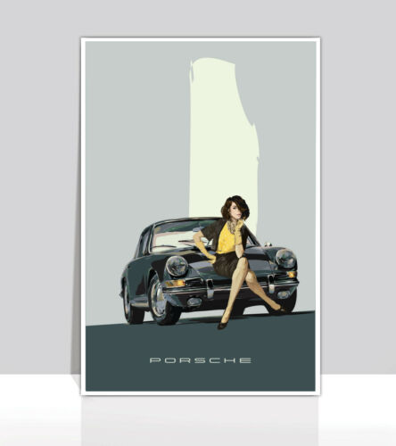 "1964 Porsche 911 Gray Coupe Aluminum Poster 24/""X36/"" Poised In Time"
