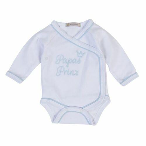 """Milarda Baby Body Wickelbody mit Spruch /""""Papas Prinz/"""" 50-74 Gr weiß-blau"""