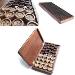 Handarbeit-HOLZ-Backgammon-Schatulle-mit-32-Steine-034-KRONE-034-2-Wuerfel-27mm-1-1-034