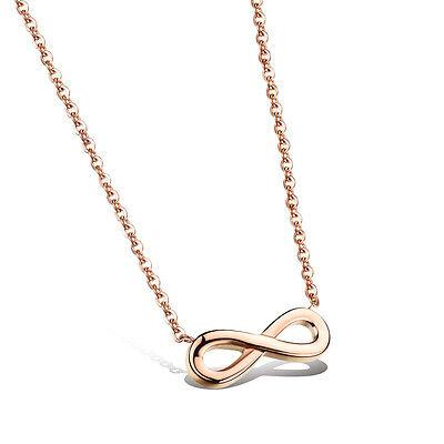 Damen Kette Halskette mit Anhänger Infinity Unendlichkeit 18K Rosegold vergoldet