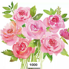 (1000) TWO Individual Paper Luncheon Decoupage Napkins - ROSES, PEONY, FLOWERS