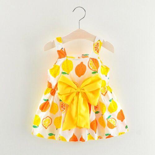 Newborn Toddler Baby Girl Lemon Print Strap Princess Party Casual Beach Dress K