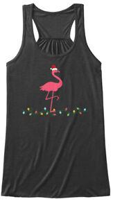 2a0abe7741957 Details about Pink Flamingo Crazy Christmas Bella Flowy Tank Tanktop