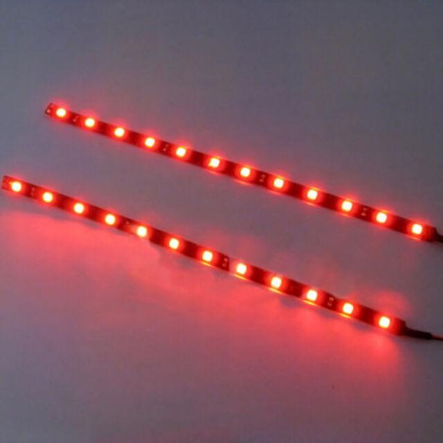 2Pcs Red 30cm 5050 SMD LED Strip Light Flexible Waterproof 12V DIY Car